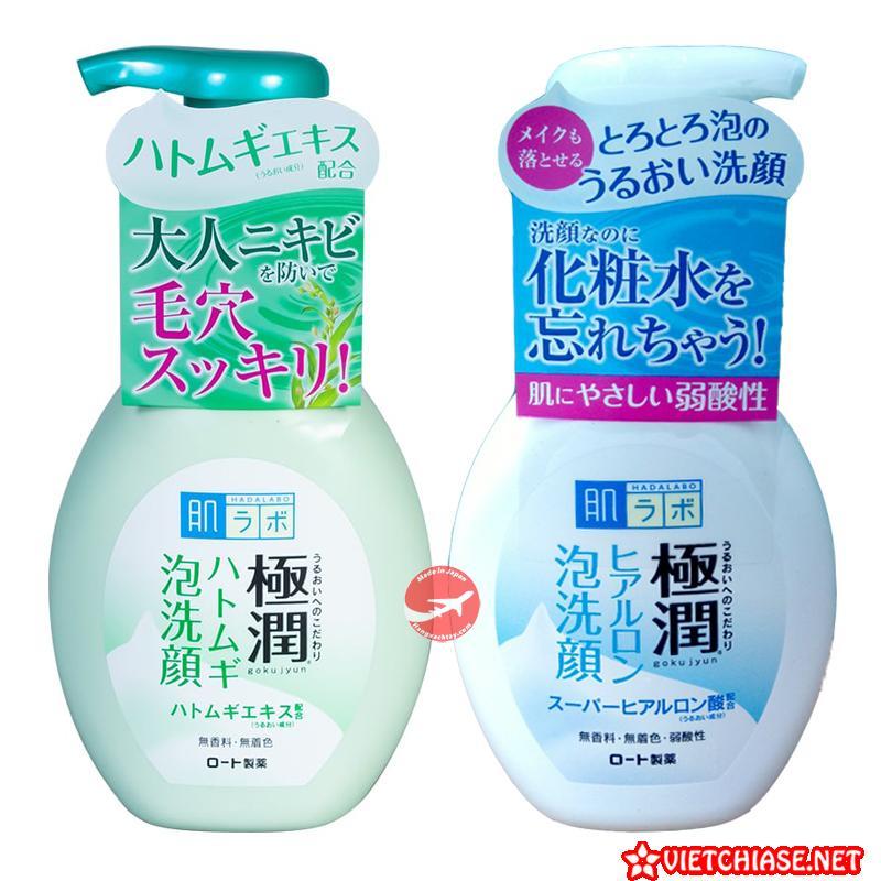 Hada-labo-gokujyun-hatomugi-bubble-face-wash